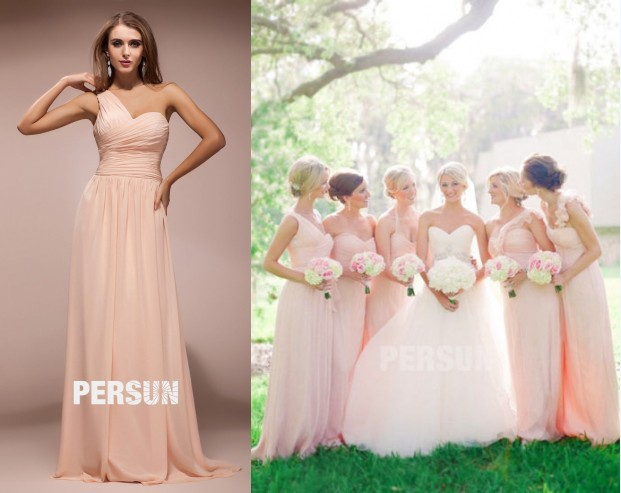 robes demoiselles d'honneur rose pale longue