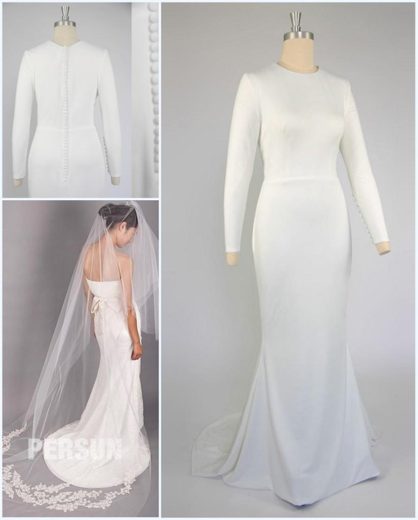 robe de mariée manche longue et voile longue