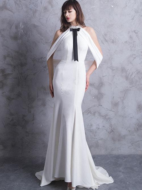 robe de soirée blanche éléagante