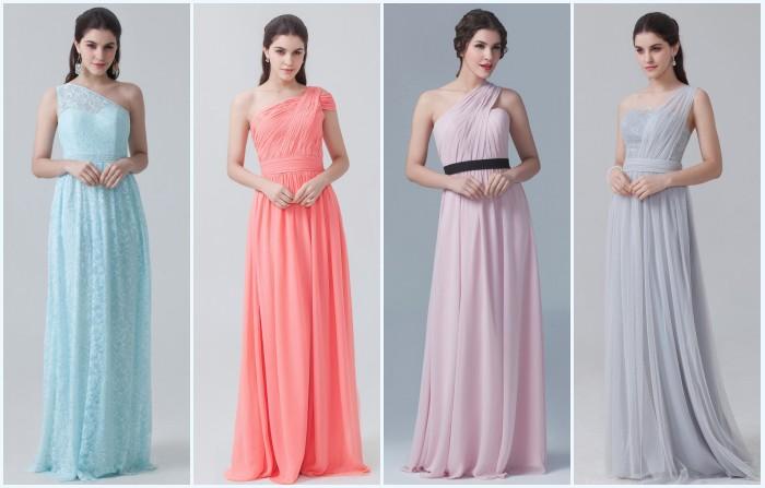 robes de soirée longues asymétrique