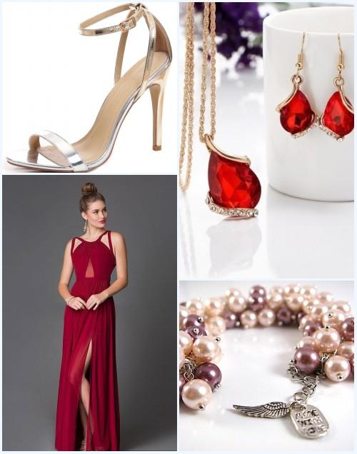 robe de soirée rouge longue fendue et accessoires