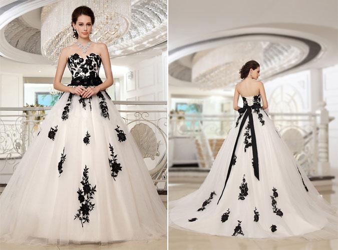 robe de mariée appliqué de dentelle noire