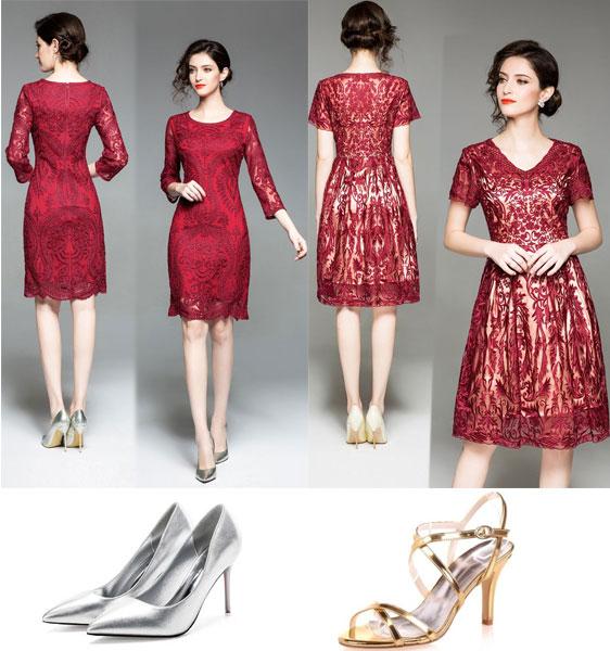 robes de cocktail rouges courtes et chaussures pour mariage