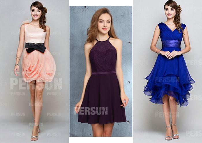 robes de soirée courtes pour femme en forme de rectangle