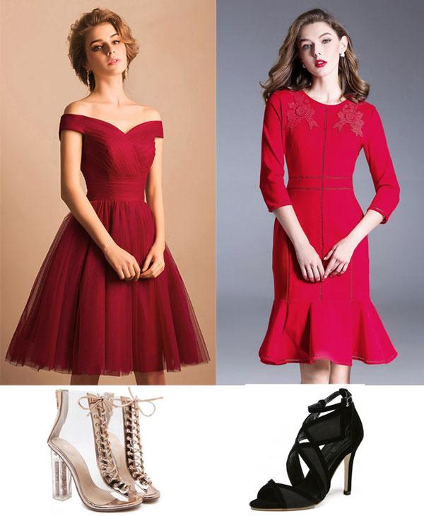 robes rouges courtes et sandales à talon haut