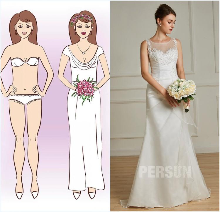 robe de mariée fourreau encolure ronde pour femme de corps rectangulaire
