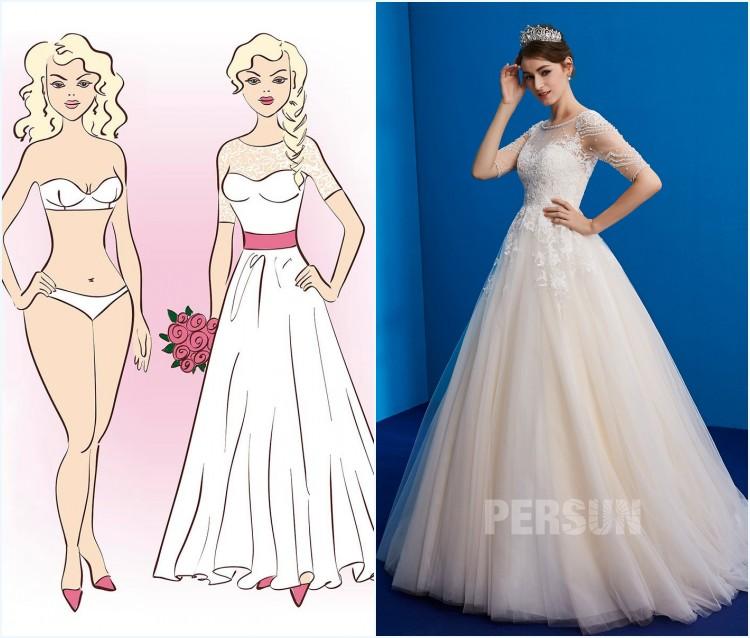 robe de mariée ligne a avec manche pour femme de crops triangulaire