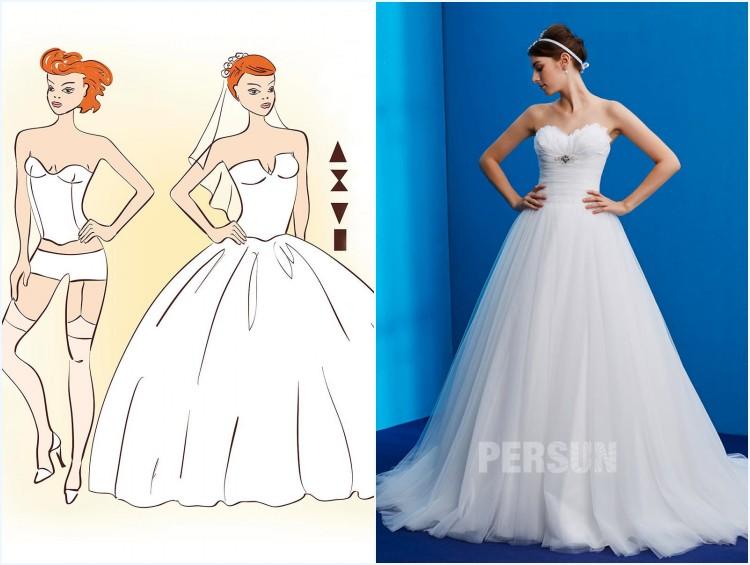 robe de mariée princesse bustier coeur pour femme silhouette du triangle inversé