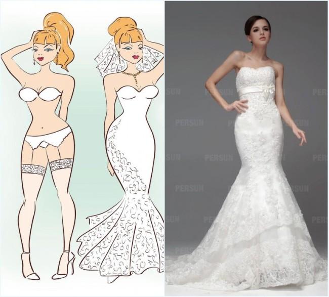 robe de mariée sirène pour femme de sablier