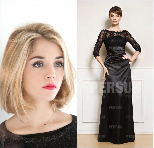 robe de soirée noire longue avec manche et maquillage