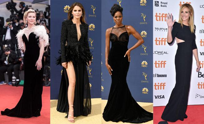 robes de célébrité noires longues 2018