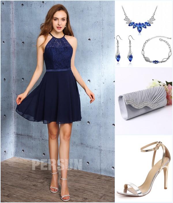 robe de soirée bleu courte haut en dentelle