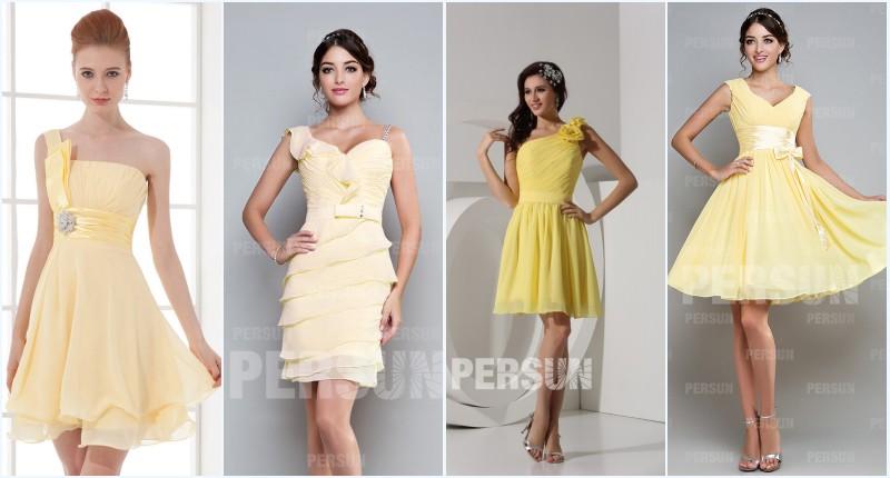robes de soirée jaunes courtes persun