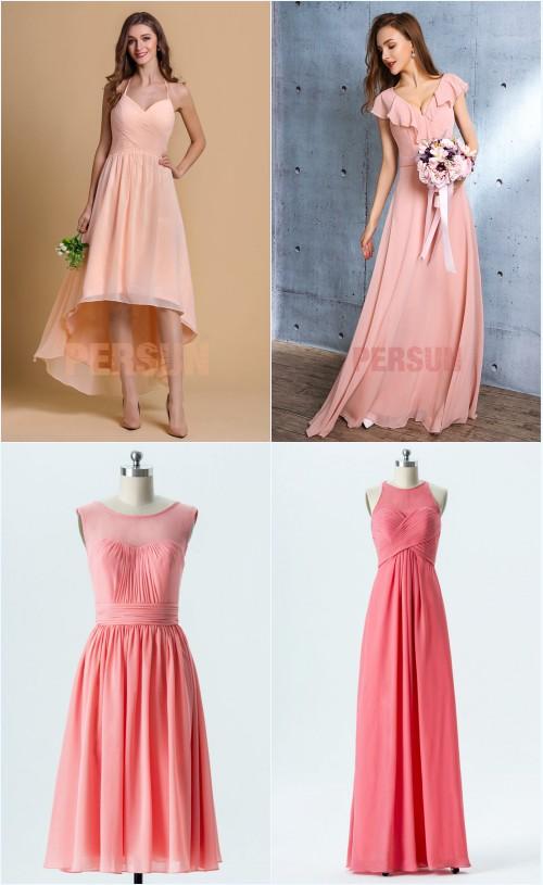 robes de soirée rose et corail