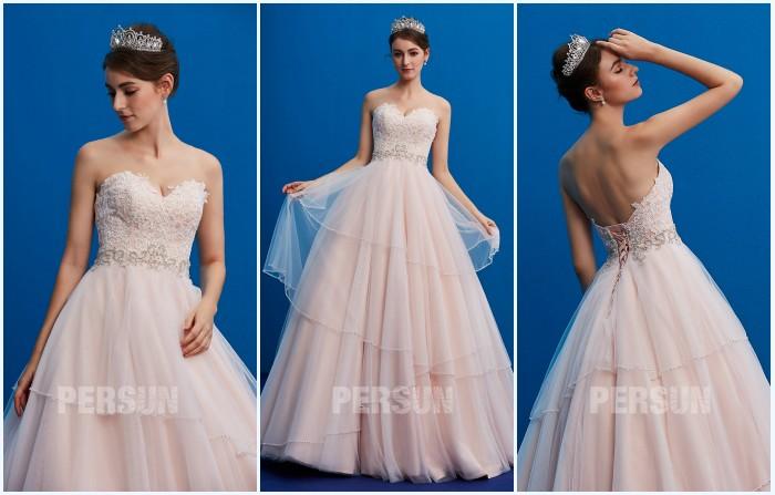 robe de mariée princesse bustie coeur rose pale 2019