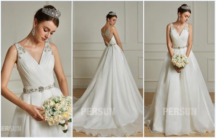 robe de mariée ol en V orné de bijoux 2019