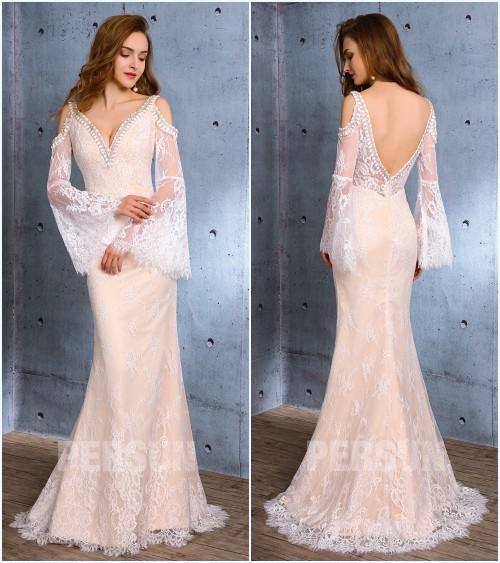 robe de mariée sirène avec manche dentelle 2019