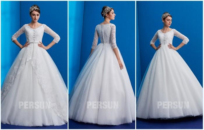 robe de mariée rétro avec manche appliqué de dentelle 2019