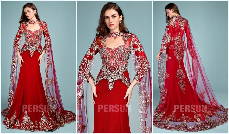 robe de mariée rouge sirène avec cape 2019