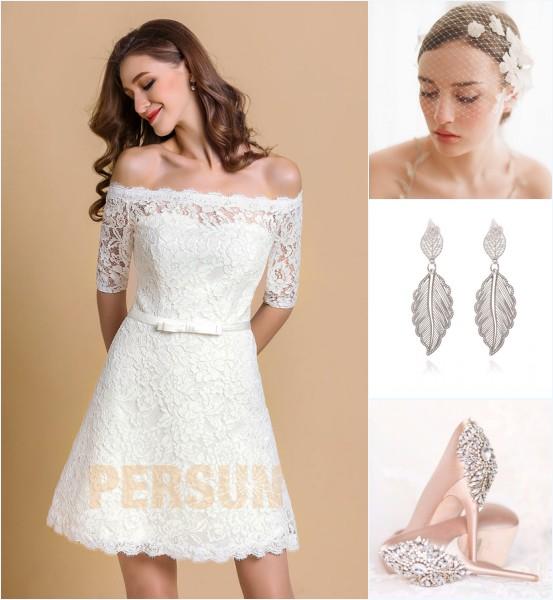 accessoires pour une robe de mariée courte épaule dénudé