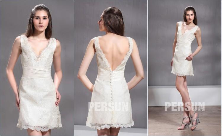 robe de mariée courte dentelle dos échancré en V