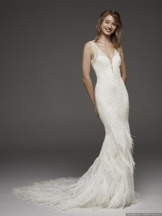 robe de mariée sirène à frange