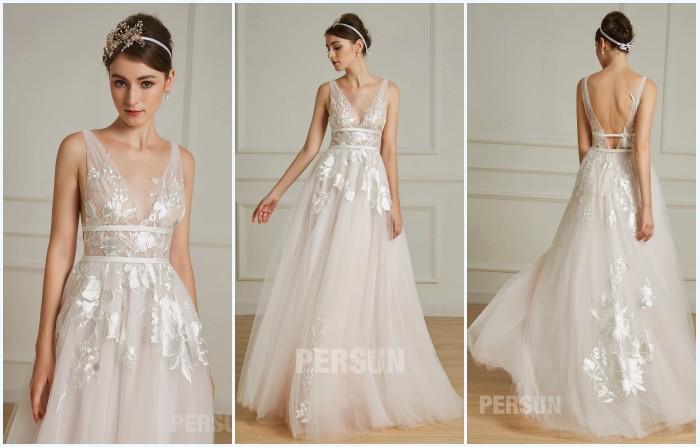 robe de mariée bohème rose pale appliqué de guipure 2019